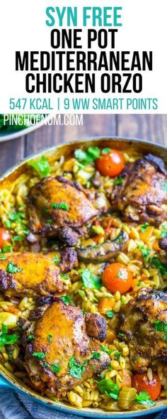 Syn Free One Pot Mediterranean Chicken Orzo | Pinch Of Nom Slimming World Recipes 547 kcal | Syn Free | 9 Weight Watchers Smart Points