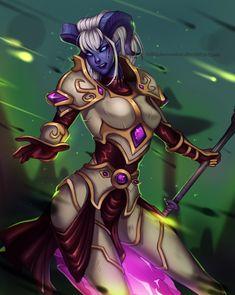 Yrel by Polkadotzombie.deviantart.com on @DeviantArt - More at https://pinterest.com/supergirlsart/ #wow #armor #crystal #horns #magic #talador #worldofwarcraft #draenei #wowworldofwarcraft #draeneifemale #warlordsofdraenor #yrel #fantasy #female