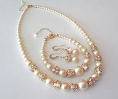 Gold pearl Set Swarovski pearls and Crystals by QueenMeJewelryLLC