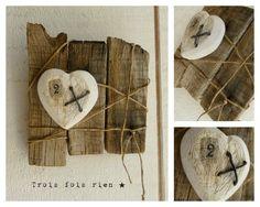 Assemblage bois, fil de fer, ficelle, tissu, récup'