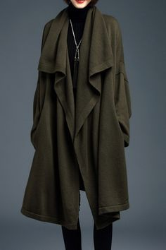 Army Green Batwing Long Sleeve Knitted Cardigan | Stunning for Fall and Winter