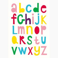 """Alphabet"" in colour poster - Size A3 (unframed)   room to decorate   scandinavian and vintage designed homewares - online shop"