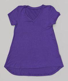 Loving this Purple V-Neck Swing Tee on #zulily! #zulilyfinds