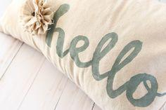 Stenciled Pillow - The Creative Studio Stenciled Pillows, Burlap Pillows, Felt Name, Creative Studio, Screen Printing, Stencils, Applique, Crafty, Canvas