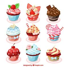 9 Cupcakes Clipart Love Cupcake Clipart Digital Cupcake Element Love Cakes graphics Valentine's clipart Wedding cupcakes Birthday cupcakes Cupcake Illustration, Cupcake Kunst, Cupcake Art, Cupcake Clipart, Cupcake Drawing, Watercolor Food, Stickers, Food Drawing, Decoupage Paper
