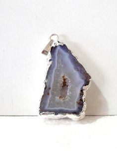 Light Purple Druzy Center Smooth Agate Dipped Silver by BijiBijoux,