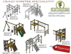PLAYGROUND EQUIPMENT ( JUNGLE GYM ) - Cape Town - compact designs some without swings
