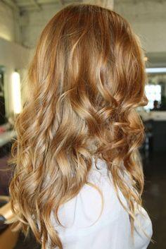 Honey golden auburn blonde hair