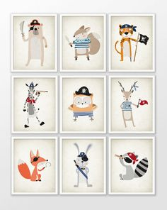 Pirate Animal Nursery Art Print Set Of 9  Pirate by QuantumPrints