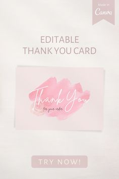 - Blush pink thank you card template for all occasion - Feminine, Aesthetic, Simple, Stylish - Send your love to those who attended your wedding or party - For small business - Edit text on Canva (for free), download, print or send it online! #thankyoucardtemplate #smallbusiness #editabletemplate #printabletemplate