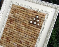 beautifully framed wine cork board