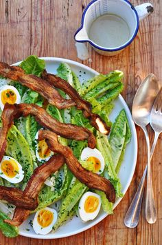 Romaine Salad w/ BACON, 5-Minute Eggs & Creamy Garlic- Anchovy Dressing