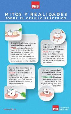 #infografia Mitos y realidades sobre el cepillado eléctrico #salud #bucodental