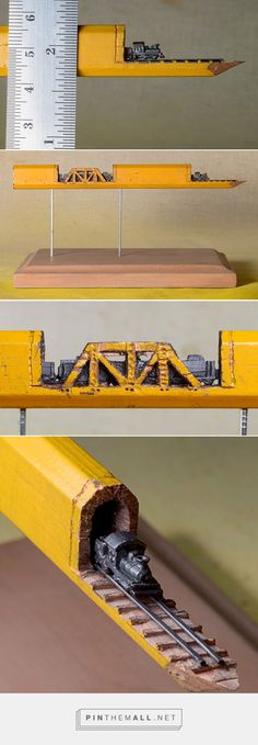 "A Carved Graphite Train on Railroad-Tracks Emerges from Inside a Carpenter's Pencil ""Tunnel"" -- WOW, just when I thought I'd seen everything the internets have to offer. Sculpture Crayon, Sculpture Art, Pencil Carving, Wow Art, Pencil Art, Oeuvre D'art, Amazing Art, Awesome, Creative Art"