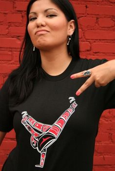 The Salish Break Dancer t-shirt is for the B-boys and B-Girls out there, for everyone who is into hip hop and/or Salish art. Hip hop is a language that crosses cultural and geographical boundaries. This shirt is created in the style of Salish art which originates in the Pacific Northwest Indian communities. Show your love for hip hop and indigenous art