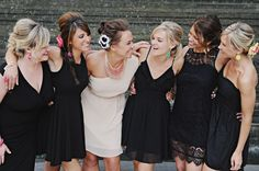 LittleBlackDress... Cheap wedding idea, and everyone is comfortable in their own style. :) Love this!