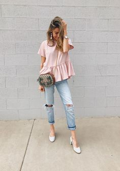 Blush top and light distressed denim