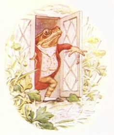 """'The Tale of Mr. Jeremy Fisher', 1906 -- Beatrix Potter. """"He was quite pleased when he looked out and saw large drops of rain, splashing in the pond."""""""