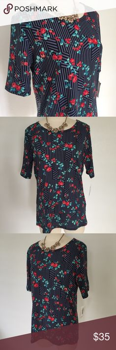 LuLaRoe Gigi Florals Stripes size XL 🏷 BRAND NEW WITH TAGS 🔹95% Polyester 5% Spandex ℹ Size: XL 🌹 Vintage florals on a striped background! One of my favorite prints! 🆗 Offers welcomed LuLaRoe Tops Tees - Short Sleeve