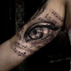 Music Tattoos For Guys - Notes, Instruments & Lyrics, Tattoo, Music Tattoos - Stereo Speakers Eyeball. Music Tattoo Designs, Music Tattoos, Body Art Tattoos, New Tattoos, Girl Tattoos, Tattoos For Guys, Faith Tattoos, Quote Tattoos, Temporary Tattoos