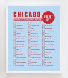 Chicago Bucket List Wall Art Print Design