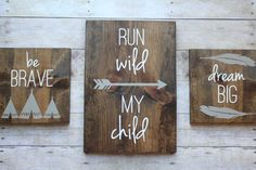 Boys rustic room trio wood signs woodland by MagnoliaBlushDesigns