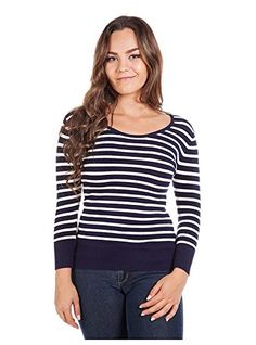G2 Chic Womens Long Sleeve Striped Knit Casual Sweater TopTOPSWTDBLM ** For more information, visit image link.