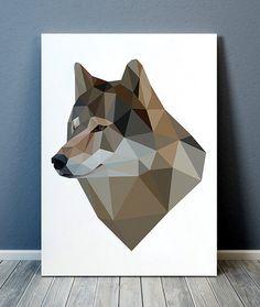 Wolf print Wildlife art Geometric poster Animal print TOA284