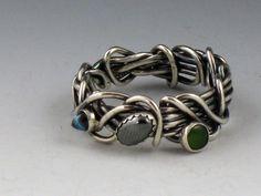 Ring | Michele Grady. Sterling silver, blue topaz, hematite, jade