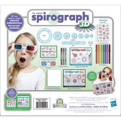 Take your whirling Spiro-tastic designs to a new dimension with the Spirograph Kit from Kahootz;Create your designs with the Spirograph wheels rings and rack put on the glasses and your design. Original Spirograph, Spirograph Art, Drafting Tools, 3d Pattern, Principles Of Art, Marker Art, 3d Design, Design Set, Craft Kits