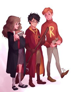 """THEY ARE ALL SO PRECIOUS HERE LOOK AT HERMIONE AND RON THEY'RE LIKE """"we knew you could do it"""" AND HARRY HOLDS HIS BROOMSTICK WITH PRIDE FINALLY FEELING LIKE HE BELONGS"""