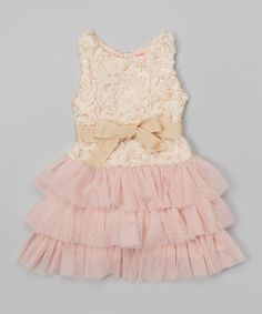This Peach Floral Tiered Dress - Girls by Little Mass is perfect! #zulilyfinds
