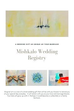 Are you looking for a new way to register for your wedding? Mishkalo is a wedding registry for original art for all budgets. We are the best personalized registry. Become a Mishkalo couple in 3 simple steps: 1) register for free 2) Select art and collect funds 3) Get art for your home and donate remainingfunds to charity. #giftguide #wedding  #weddingregistry #campinggifts #travelgifts #weddinggifts #weddingpresents  #uniqueweddingideas #weddingstyle Unique Wedding Gifts, Unique Weddings, Camping Gifts, Travel Gifts, Wedding Gift Registry, All Art, Gift Guide, Wedding Styles, Charity