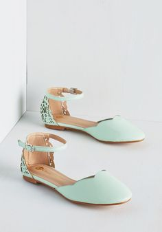 follow me @cushite Presh Play Flat in Mint. Sweeten your day from the start by buckling into these refreshing mint flats! #mint #wedding #modcloth