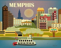 Memphis,Tennessee Skyline - Horizontal Southern City Original drawing for Nursery, Office, Gift and Home Art