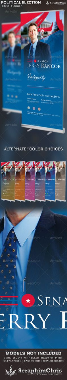 Large Political TriFold Brochure Mailer Template  Tri Fold