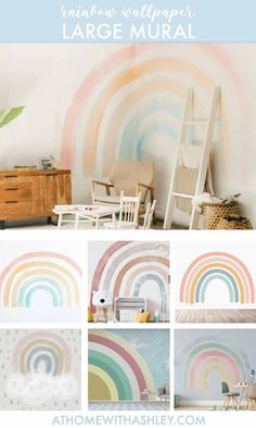 100 of the cutest rainbow wallpapers! You could put it on an accent wall, or go crazy and put it on the ceiling. If you prefer it for walls, there are tons of cute options with lots of different aesthetics to choose from. I'm loving #7, which is so cute and pastel! #rainbowwallpaper #wallpaperforwalls #rainbowdecor #accentwallwallpaper Rainbow Wallpaper, Wall Wallpaper, Home Improvement Projects, Home Projects, Rainbow Project, Stripped Wall, Different Aesthetics, Rainbow Decorations, Love Rainbow