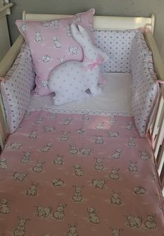 Our Bunny Hop combines elegant spots and a touch of stripes in Pink and Grey, perfect for any little girl's nursery!