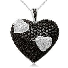 """10k White Gold Black and White Heart Diamond Pendant Necklace (1 1/2 cttw, I-J Color, I2-I3 Clarity), 18"""" Amazon Curated Collection, http://www.amazon.com/dp/B0030IM27I/ref=cm_sw_r_pi_dp_tXAerb0RXVD86"""