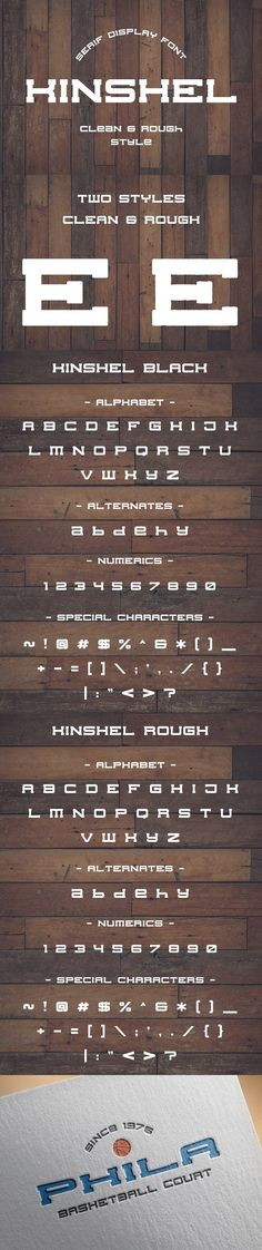 Kinshel is serif display font in two styles clean and rough. --- Kinshel is inspired by vintage american sport typography. These font is great for vintage style Western Fonts, Hipster Fonts, American Sports, Special Characters, Serif, Logo Templates, Alphabet, Vintage Fashion, Typography