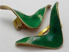 Vintage Norway Sterling Silver Enamel Jacob Tostrup Clip Earrings Mint | eBay