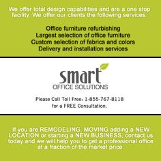 WE are here to help YOU! Smart Office Solutions can help you from start to finish with your office re-design! Toll Free: 1-855-767-8118 www.sosfurniture.ca Office Space Planning, Smart Office, How To Plan, Free, Design