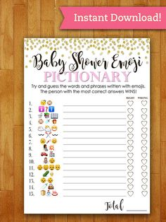15 Entertaining Baby Shower Games This is a super fun, printable and interactive game for your baby shower. Print as many as you need right from home or your nearest print sh Shower Bebe, Baby Shower Fun, Shower Party, Baby Shower Parties, Best Baby Shower Games, Baby Showe Games, Baby Shower Game Gifts, Baby Shower Images, Pink Und Gold