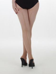 10659ce8d61 retro seamed pantyhose in nude gold Metallic