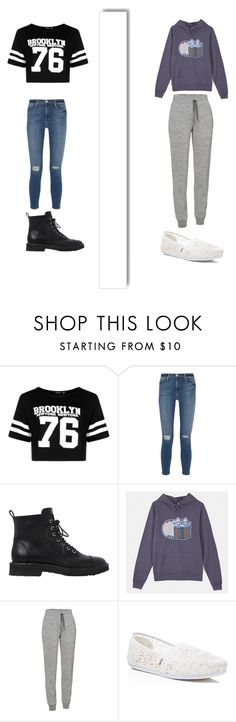 """""""First day of school bs. Last day of school"""" by harjas1321 ❤ liked on Polyvore featuring Boohoo, Frame Denim, Giuseppe Zanotti, Pusheen, Icebreaker, TOMS and White Label"""