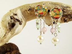 Freshwater pearls earrings pink agate tissue  freshwater