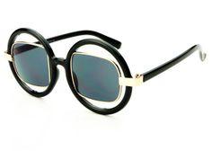 Cut Out Lens Retro Womens Round Sunglasses Black Gold R1121
