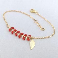 Bracelet fin or gold filled et chaîne épis rouge/doré 3plumesauvent.com