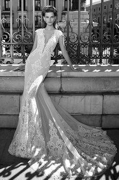 Lace wedding dress with deep-V neckline, Berta Spring 2016 Bridal Collection