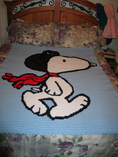 Snoopy crocheted blanket